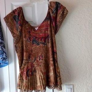 Paisley animal print women's blouse 3x